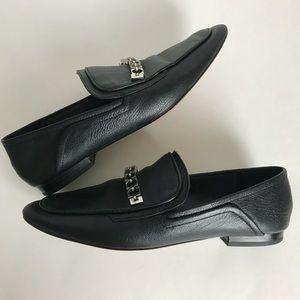 ZARA Black Leather Loafer Smoking Shoe Dress Flat